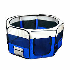 """New Dog Pet Cat Playpen Kennel Exercise Pen Crate Fence Blue - 48"""" X-Large"""