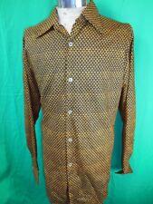 Vintage 1970s Navy Blue & Gold Patterned Poly/Cotton Triola Dress Shirt Large