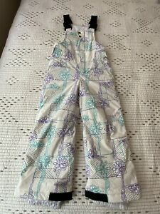 Columbia Ski / Snowboard Overalls Girl's White Patterned Size 4/5 Snow