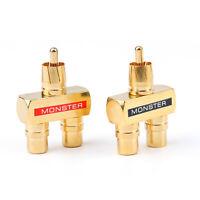 RCA Audio Y Splitter Plug Fiche 1 Male to 2 Femelle Plaqu¨¦ Or Connecteur AF