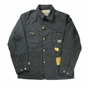 SUGAR CANE Black Covert Work Coat