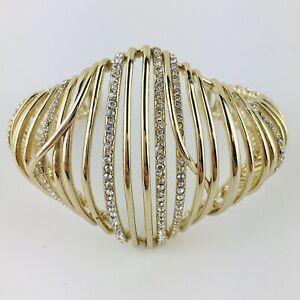 ALEXIS BITTAR Gold & Pave Crystal Orbital Spiral Cuff Bracelet USA