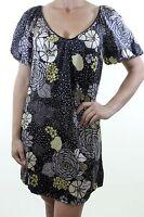 OASIS black 100% SILK ditsy floral print spotty shift mini dress size 10