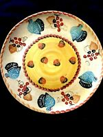 "Italica Ars Italy Hand Painted Turkeys Italian Pottery 10.5"" Dinner Plate"