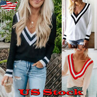 Womens V Neck Knitted Jumper Loose Sweater Long Sleeve Lady Tops Shirt Pullover