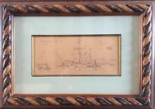 Ernest VAUTHRIN 1878-1949.Trois-mats à Concarneau.Crayon.9x19.Monogramme.Cadre.
