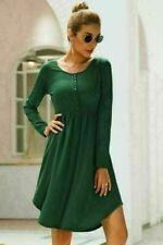 Dress Dresses T-Shirt Casual Short Womens Long Sleeve Tops O Neck Autumn Solid