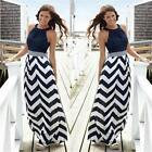 Plus Size S-5XL Women Stripe Style Maxi Long Summer Cocktail Party Beach Dress B