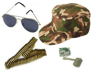 UNISEX ARMY SHIRT CAP GOLD AVIATOR DOG TAG BULLET BELT CAMOUFLAGE ACCESSORIES