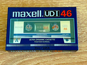 """💥MAXELL UDI 46 """"SILVER"""" NORMAL POSITION TYPE I CASSETTE TAPE MADE IN JAPAN 1985"""