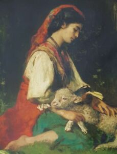 "E. H. MAY  ""BEAUTIFUL SHEPHERDESS"" ~ Giclee Oil on Canvas ~ Authenticity #148 LE"