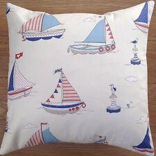 "New Fryetts Fabric Regatta Blue Boats Sailing Scatter Cushion Covers 16"""