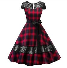 New Ladies Gothic Dress Fits size 16-18 Rock Vintage Retro lace black red Tartan