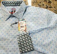 Robert Graham Men's M Medium Blue White Shirt Button Up Flip Cuff NWT 6120888