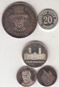 5 Silbermedaillen (zusammen 37,9 g 986 + 999/1000)