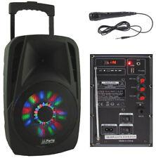 "Mobile Akku Box ""PARTY-8LED"" Lautsprecher LEDs Mikrofon SD USB Bluetooth & Radio"