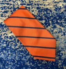 NEW Brooks Brothers Orange Blue Bias Stripes English Silk Handmade Necktie USA