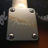 For Fender Strat Tele Electric Guitar Neck Plate Chrome Engraved Fender Logo