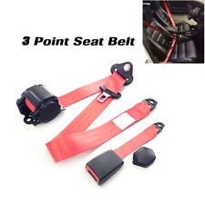 Red 3Point Front Seat Belt Buckle Kit Vehicle Automatic Retractable Safety Strap