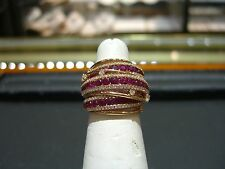 FINE WOMENS 18 KARAT ROSE GOLD RUBY AND DIAMOND RING NEW SIZE 7.5 HAND MADE WOW!