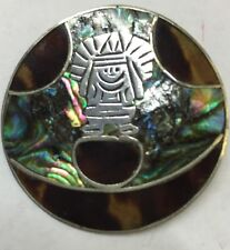 Sterling Silver Mexico Tribal Inlaid Abalone Disc Pin 9.7grams