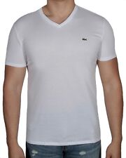 70cc8ffded822f Lacoste White Short Sleeve Pima Cotton V-neck Jersey T-shirt Regular L