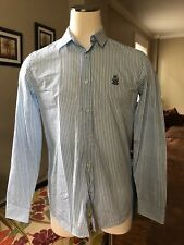 NEW Love Moschino Men's White Light Blue Striped Button Down Shirt Size Large