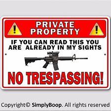 "Private Property No Trespassing Gun Owner Aluminum Security Sign 8""x12"" New"