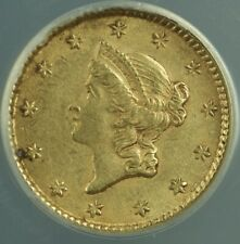 1853 Type I Liberty Gold $1 Dollar Coin ANACS AU-50