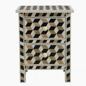 Teak Inlay Bedside Cabinet Table Geometric (MADE TO ORDER)