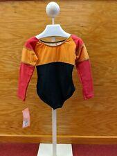 Capezio Girls Gymnastics Long Sleeve Color Block Red Orange Black