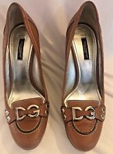 DOLCE & GABBANA WOMENS TAN LEATHER WEDGE HEEL SHOES  - SIZE 38