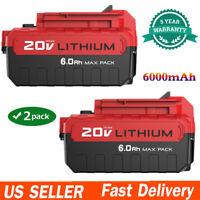 2 Pack 20V MAX 6.0AH Li-Ion Battery For Porter Cable PCC685L PCC680L Power Tools