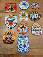 Lot of 10 fire department rescue EMT company patches Florida Virginia Huston