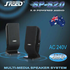 SPEED SP-S20 2.0 Stereo Speakers AC 240V for PC, Tablet, iPad, MP3, Smartphones