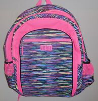 Justice Girls Backpack Bookbag Pink Black Multi Stripes New School