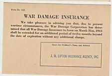 1944 WWII era War Damage Insurance Postcard JM Lipton Agency Florida