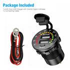 Dual Usb Car Fast Charger Socket Power Outlet Led Voltmeter 12v 4.8a Waterproof
