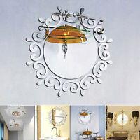 AU_ Cy_ 3D Mirror Effect Wall Sticker Art Decal DIY Home Office Lamp Frame Decor