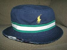 Men's POLO-RALPH LAUREN Reversible PONY Bucket Hat (s-M) Navy/ Plaid