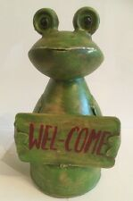 Zaunhocker*Dekofigur*Gartenfigur*Kantenhocker Metall Frosch Welcome Schild