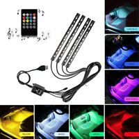 1X(Striscia LED auto, RGB 4 pz 48LED Luci interne per auto multicolor musica HK