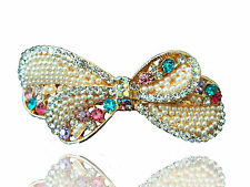 Bridal White Pearls Cluster & Colourful Bow Knot Hair Barrettes Accessories HA69