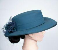 Vintage Eastex Hat Blue Rose Floral Trim Victorian Wedding Races Formal Ladies