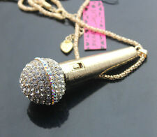 D587   Betsey Johnson Crystal  Words tube Pendant Sweater Necklace