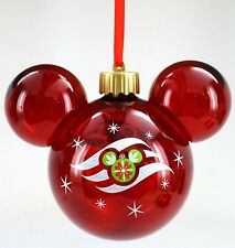 NEW Disney Cruise Line Logo Red Glass Light Up Holiday Christmas Ornament