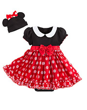 NWT DISNEY BABY MINNIE MOUSE RED COSTUME BODYSUIT SET EARS HAT SIZE 3-6 M