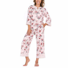 Flora Nikrooz Women's 3/4 Sleeve Crop Pant 2 PJ Sleep Set Pink Print Size S NWT