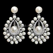 Silver Diamante Bridal Pearl Crystal Large Drop Statement Earrings Wedding Prom