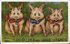 Louis Wain Pigs. Good Luck & Good Wishes # 374 by Alpha.